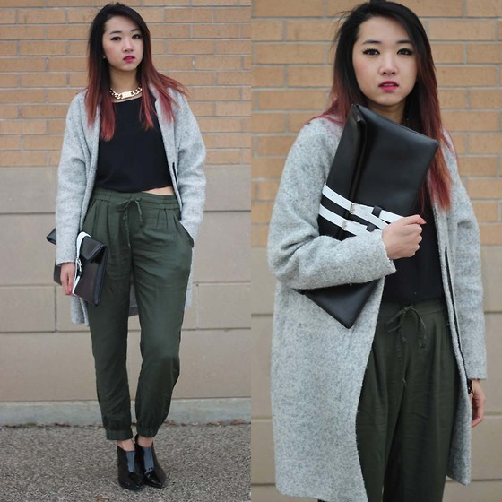Jeannie Y - Talula Trouser, Zara Coat, Topshop Ankle Boots, Choies Oversized Clutch, Asos Id Necklace - Loose Fit