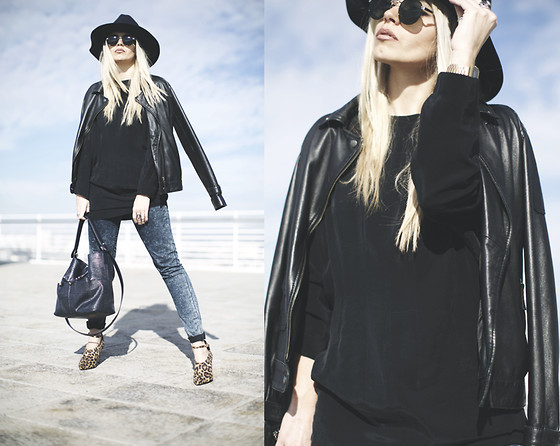 Inês M - Zara Long Shirt, Asos Hat, Asos Sunglasses, Zara Jeans, Asos Shoes, Vintage Leather Coat - Stale Market
