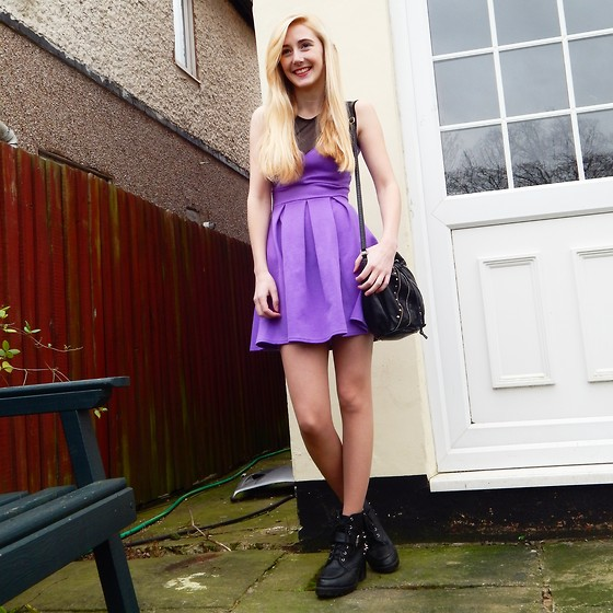 Isobel Thomas - Hidden Fashion Black Spiked Boots, Primark Black Spiked Duffle Bag, Boohoo Purple Pleated Skater Dress - Pretty In Purple
