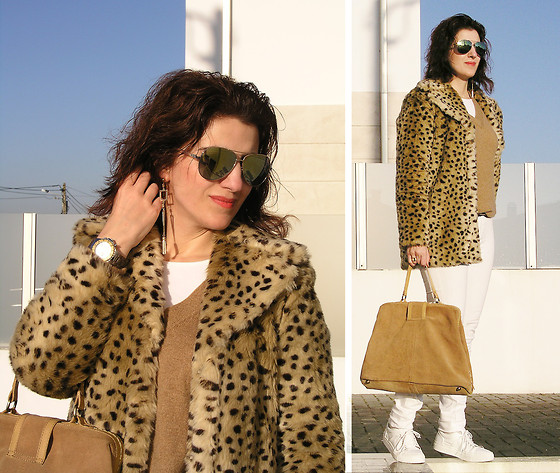 Teresa Leite - Mango Leopard Print Fur Coat, Mango Camel V Neck Knit Sweater, Mango Asymmetric Geometric Earrings, Mango Green Mirrored Aviators, Eletta Customizable Wrist Watch, Zara Suede Tote Bag (Old), Mango White Skinny Jeans (Old), Zara White Sneakers - Casual and leopard print: yes we can!