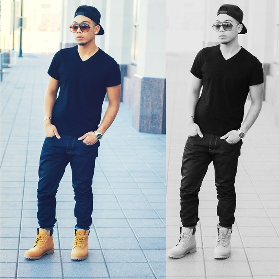 Gary Agunos - Timberland Boots, Michael Kors Gold Watch, Versace Sun Glasses, H&M V Neck - True Color