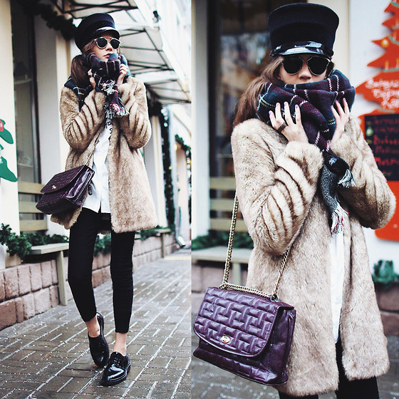 Anna Brain - Oasap Blouse, Galisfly Rings, Choies Scarf, Choies Sunglasses, Marc By Jacobs Hat - WINTER STYLE