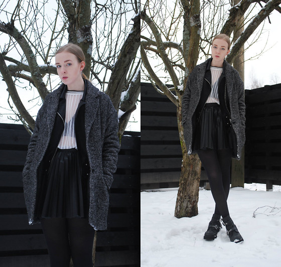 Noora V - Saints & Mortals Wool Coat, Saints & Mortals Leather Jacket, Monki T Shirt, Alexander Wang Bralet, H&M Skirt, Jeffrey Campbell Coltrane Shoes - 300115