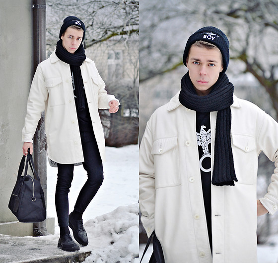 Edgar - H&M Black Knitted Scarf, Black 'Boy' Beanie, Black 'Boy' Sweater, Primark Black Holdall Bag, Maison Martin Margiela White Leather Padded Coat, Zara Black Skinny Pants, H&M Black Leather Oxford Shoes - THERE'S A PIECE OF YOU..