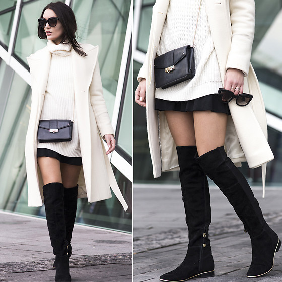 Anouska Proetta Brandon - Reiss Coat, Jumper, Guess? Boots, Céline Sunglasses, Skirt - Over the knee.