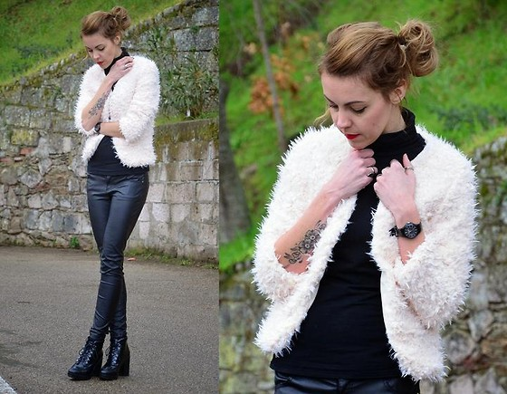 ASIA (IN &OUT BLOG) - Lovelywholesale Jacket, Bershka Boots - Pudrowe futerko