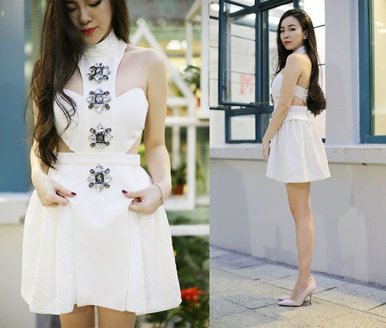 Honey Fay - Kris Jane One Piece, Zara Heels - The little white crystal - www.honeyfay.com