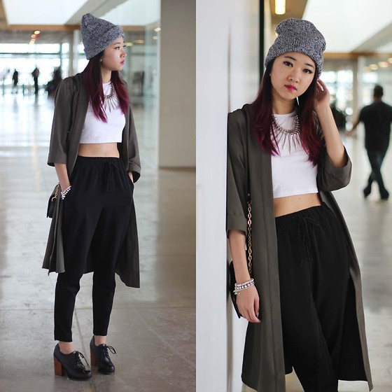 Jeannie Y - Topshop Duster Coat, Forever 21 Trousers, Jeffrey Campbell Booties, Aritzia Beanie, Aldo Necklace - The Duster