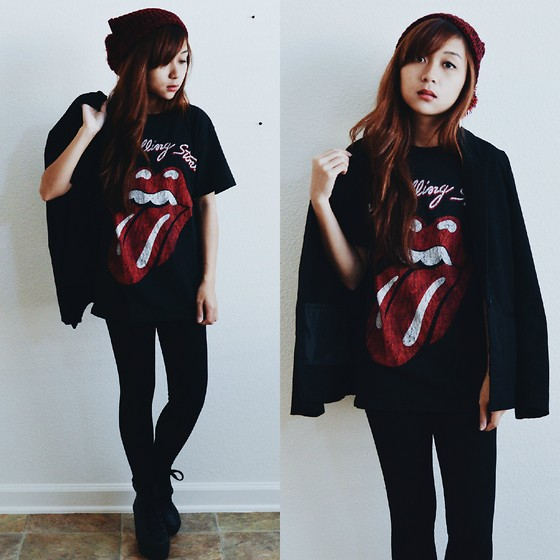Sarah D. - Hot Topic Beanie, Hot Topic The Rolling Stones Tee, H&M Blazer, Forever 21 Lace Up Platform Booties - Casual Valentines
