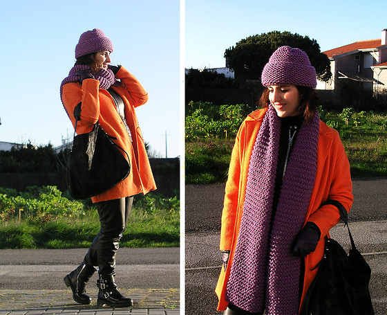 Teresa Leite - Tany Couture Self Made Beanie, Tany Couture Self Made Scarf, Zara Bright Orange Wool Coat (Old), Mango Leather Bomber Jacket With Metallic Zippers, Zara Leather Look Slouchy Pants (Old), Zara Biker Style Flat Boots, Zara Calf Hair Tote Bag - Black Leather and Bright Colors (self-made hat and scarf)