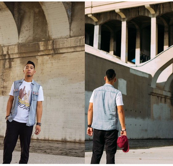 Gary Agunos - Cotton On Joggers, Pacsun Vest, Louis Vuitton Lv White Tee, Primitive Snapback - Tafoya Two