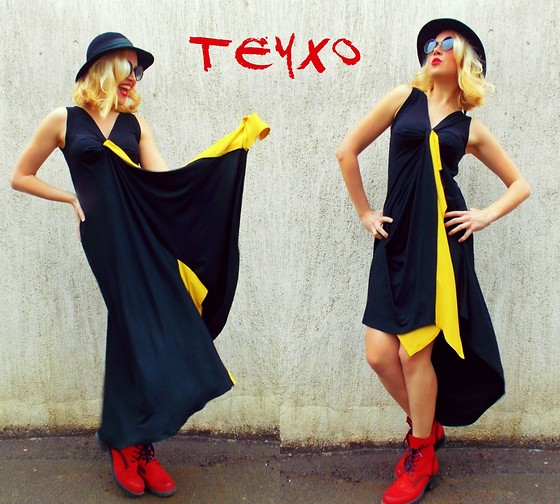 Lara Popa - Teyxo Black Maxi Dress, Teyxo Asymmetric Dress, La Scarpa Red Boots - Living for Love