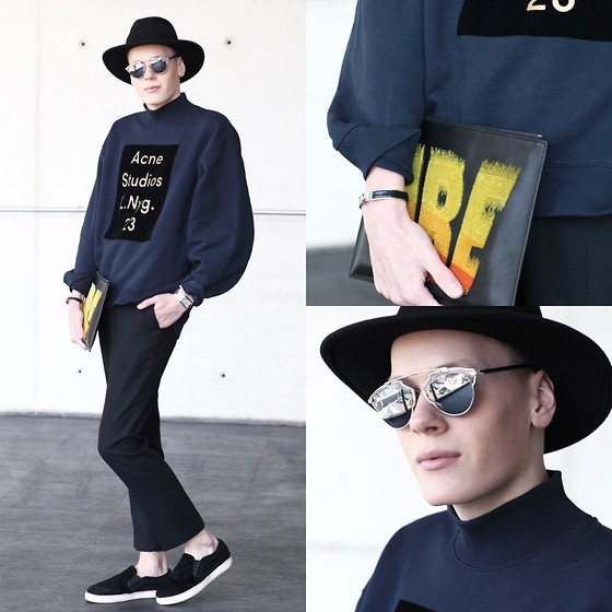 Martijn Maagdenberg - Acne Studios Sweater, Kenzo Clutch, Christian Dior Sunglasses, Asos Trousers, Céline Shoes, Zara Hat, Hermès Bracelet, Cartier Watch - Untitled #21