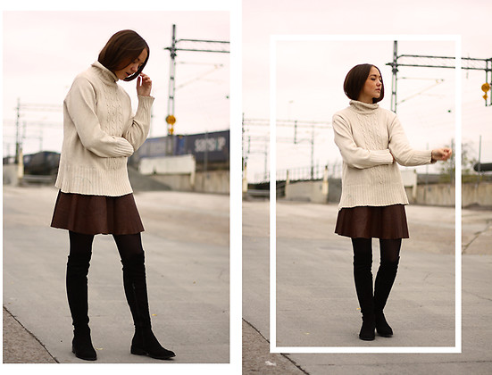 Clara Fina Frisk - Vintage Knit, Made By Me Leather Skirt, Nly Boots - PALE/COLD.