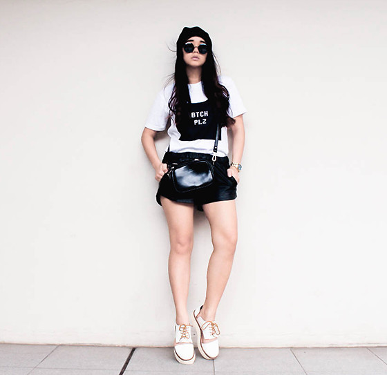 Czle Bernadette - Limaramo Cloth Btch Plz Tee, Forever 21 Faux Leather Shorts, Pershoenalize Platforms Cut Out Oxford - BTCH PLZ