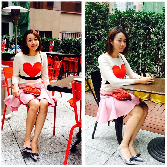 Rita C - Sonia By Rykiel Heart Print Sweater, Asos Pink Skirt - Happy valentine's day_021415