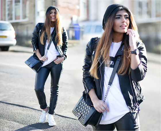 Kavita D - All Saints Leather Jacket, Karl Lagerfeld Black Watch, Ebay Black Beanie, Brashy Couture Supermarket Tee, Chanel Boy Bag, Missguided Leather Skinny Jeans, Adidas Stan Smith - Winter Sun