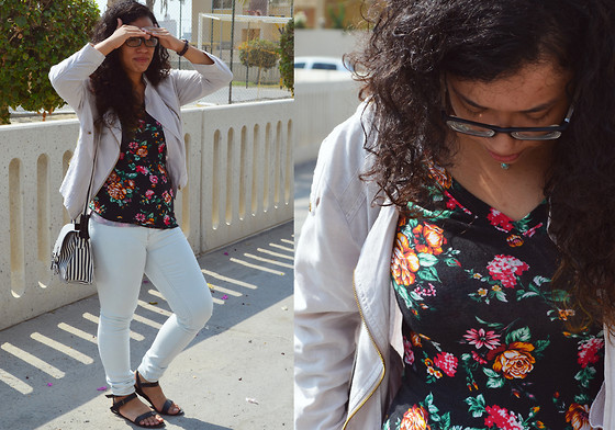 Nada Qamber - Forever 21 Black Floral V Neck Shirt, New Look Pink Pastel Half Arm Jacket, Forever 21 Black Sandals - Floral and Pastels