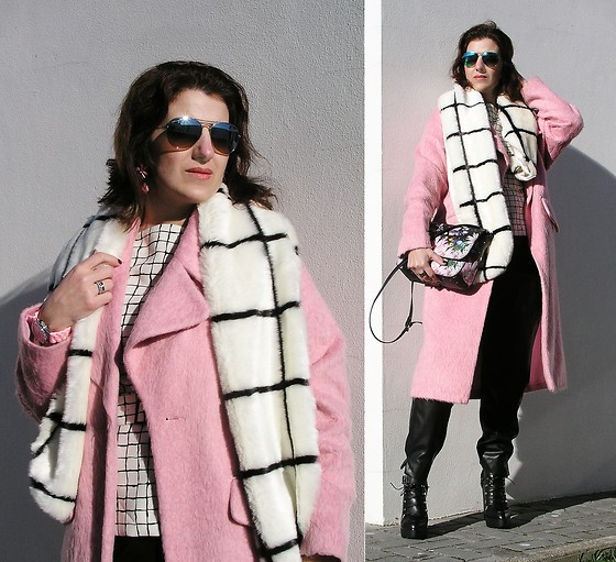 Teresa Leite - Asos Grid Print Fur Scarf, Zara Grid Print Belted Top, Asos Pink Candy Coat (Old), Parfois Flower Print Messenger Bag, Zara Leather Slouchy Pants, Zara Track Sole Platform Booties - Sweet Treat: Candy Coat & Grid Print
