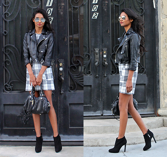 Tiffany Borland - Tfnc London Plaid Shift Dress, Carlo Pazolini Booties, Nasty Gal Leather Jacket - Toxic and timeless.