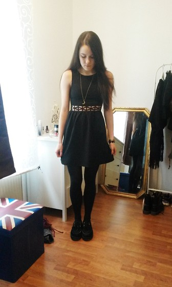 Jacky S - Urban Outfitters Moon Necklace, H&M Cut Out Dress, Primark Creepers - Physical Graffiti