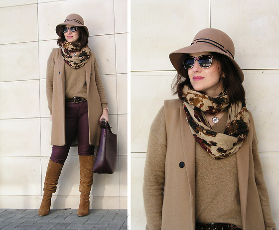 Teresa Leite - Parfois Wide Brim Hat, Parfois Wayfarer Like Sunnies, H&M Flower Print Infinity Scarf, Mango Camel Vest, Mango Alpaca V Neck Knit Sweater, Zara Burgundy Waxed Jeans (Old), Zara Burgundy Large Leather Tote Bag (Old), Zara Suede Knee High Boots - Memories Fade but the Scars Still Linger