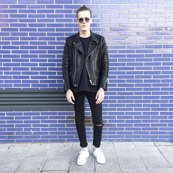 Martijn Maagdenberg - Christian Dior Sunglasses, Acne Studios Sweater, Sandro Leather Jacket, Cheap Monday Jeans, Adidas Sneakers - Untitled #22