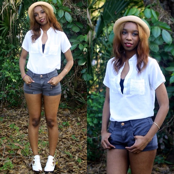 Alexa C - Button Up, High Waist Shorts, Cutout Booties, Forever 21 Bowler Hat - Sunshine