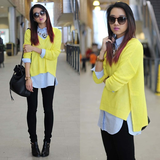 Jeannie Y - H&M Sweater, H&M Dress Shirt, Forever 21 Jeans, Topshop Chunky Heels, Saint Laurent Ysl Sunglasses - Happy Layers