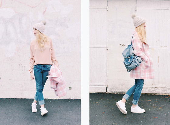 Laugh of Artist - Asos Cap, Missguided Coat, Nike Basket, Cheap Monday Jean, Petitsesame Backpack, The Kooples Blouse - Pink candy in the rain