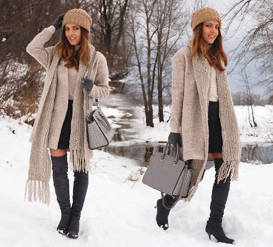 Iren P. - Michael Kors Selma Pearl Grey Large Bag, Sheinside Cream Oversize Cocoon Coat, Over The Knee Grey Boots, Chunky Knit Long Cream Scarf, Stradivarius Beige Knit Beanie, Grey Wrap Buckle Skirt - NEUTRAL TONES