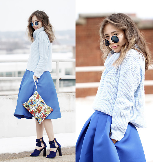 Queen Horsfall - Sheinside Blue Flare Pleated Midi, Forever 21 Cropped Ribbed Knit - Pastel Blue