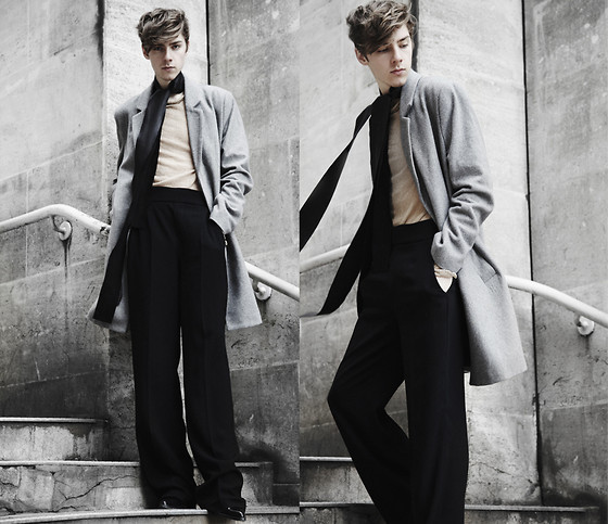 Mikko Puttonen - Gtie Scarf, Shirt, Trousers, Weekday Coat - More and more every day