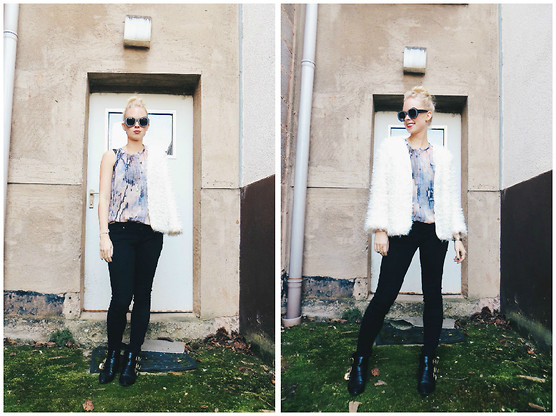 Signe Savant - Oasap Snake Print Top, Blackfive Fuzzy Jacket, Freyrs Leather Look Sunglasses - : Ad-nauseum...