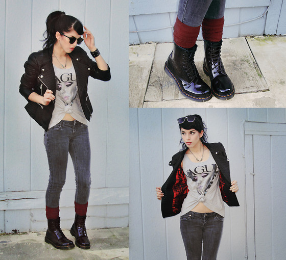 Melina DeSantiago - Classic Half Frame, Horn Rimmed Sunglasses, Konov Black Leather Cuff Bracelet, Inner Red Plaid, Black Faux Leather Jacket, 'Vague' Thrifted Top, Faded Old Charcoal Skinny Jeans, Towallmark Knit Burgandy Stockings, Dr. Martens Classic Lace Up Boots - Vague