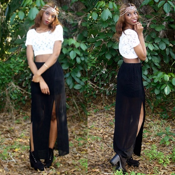 Alexa C - Floral Crop Top, Pleated Maxi Skirt, Ebay Platform Booties, Forever 21 Chain Headdress - Chandelier
