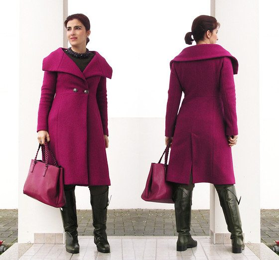 Teresa Leite - Tany Couture Self Made Fuchsia Coat, Parfois Fuchsia Tote Bag With Braided Handles, Zara Khaki Riding Boots - If I had a Flower for Every Time I thought of You,...