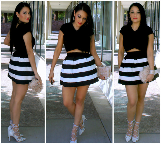 Marina Hidalgo - T.J. Maxx Crop Top, Chicnova Stripe Skirt, Justfab Bag/Clutch, Jessica Buurman Lover Floral Cutout Lace Up High Heel Pumps - Stripes and Red Lips