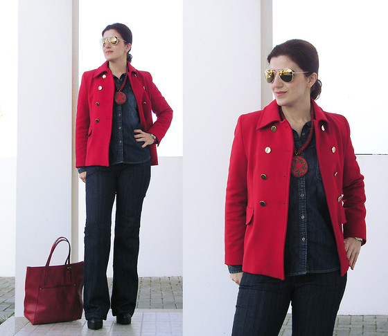 Teresa Leite - Zara Red Jacket With Golden Buttons, H&M Golden Mirrored Aviators, Zara Indigo Denim Shirt, Mango Indigo Denim Flared Jeans (Old), Zara Red Leather Look Bag (Old), Mango Red Necklace With Big Medallion (Old) - Indigo Denim meets Red Jacket with Golden Buttons