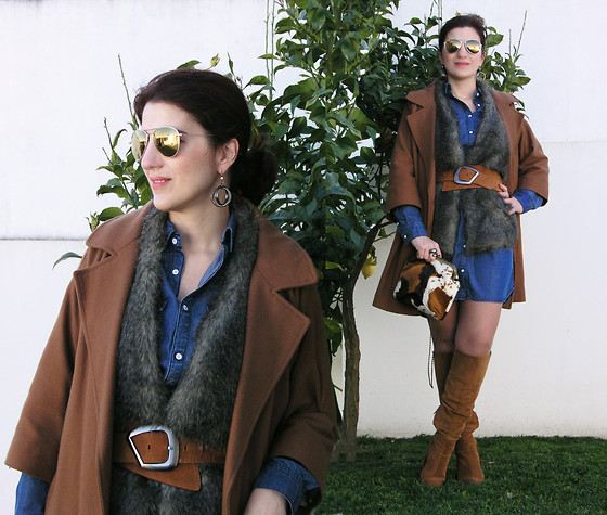 Teresa Leite - Tany Couture Self Made Camel Coat, H&M Lyocell Shirt Dress, H&M Golden Mirrored Aviators, Mango Fur Vest With Knit Back (Old), Zara Tan Suede Knee High Boots, Gracinhas E Artes Handmade Purse - When Life gives you Lemons, You should make Lemonade
