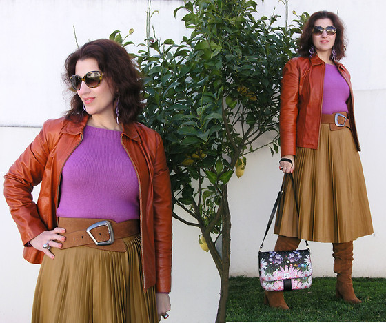 Teresa Leite - Asos Pleated Leather Look Skirt, Zara Tan Suede Boots, Parfois Flower Print Messenger Bag, Zara Suede Wide Belt (Old), Orange Leather Jacket (Old) - Nurture Your Mind with Great Thoughts