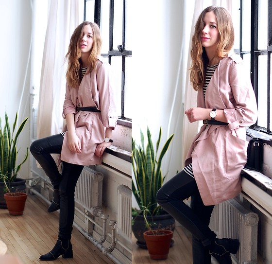 Gabrielle Lacasse - Forever 21 Pink Trench, Daniel Wellington Watch, S E N O Boots, Joe Fresh Striped Tunic - Belt it