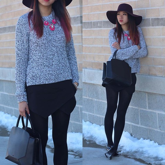 Jeannie Y - H&M Sweater, Zara Skort, Auxiliary Bag, American Apparel Floppy Hat, Topshop Booties - Salt & Pepper