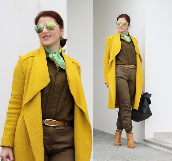 Teresa Leite - Zara Yellow Overcoat, Zara Army Green Shirt, Zara Cuffed Army Green Pants, Pull & Bear Tan Booties - The Green Fairy Wears a Yellow Coat