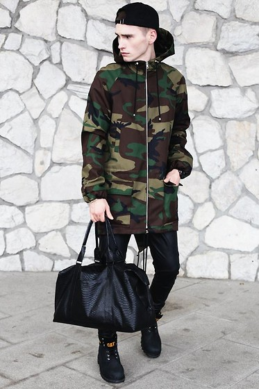 Romek Gelard Gello - Madox Camo Parka, Male Me Leatcher Trousers, Bag, Cat Footwear - Come Find Me