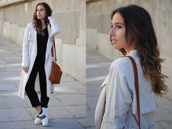 Claudia Villanueva - H&M Trench Coat, Zara Black Sweater, Bimba Y Lola Bag, Zara Pants, Zara Sneakers - March Uniform