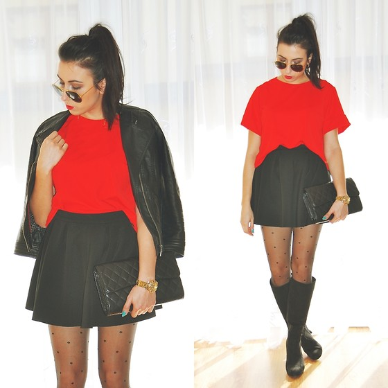 Pam S - Zara Jacket, Deichmann Boots, Mohito Shirt, Sheinside Skirt - Red shirt