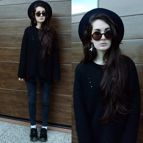 Anna Garavello - Thrifted Wool Hat, Scissors Earrings, Round Sunglasses, Black Pullover, Skinny Grey Jeans, Dr. Martens Dr - Scissors