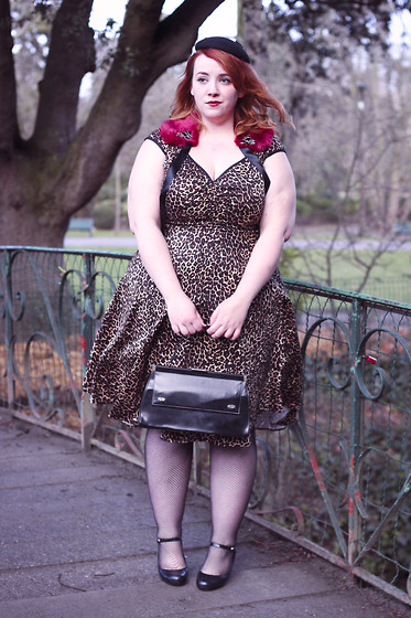 Audrey G. - Pin Up Girl Clothing Leopard Print Dress, Melissa Mary Jane Heels, Filippo Catarzi Black Pillbox Hat, River Island Faux Fur Collar, Vintage Bag From My Grandma - Retro 50's