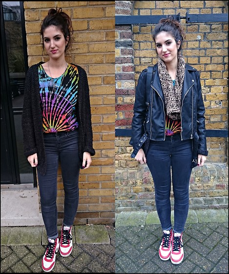 Julia - Urban Outfitters Cardigan, Topshop Jeans, Marks & Spencer Scarf, Converse Shoes, Boutique In Ibiza Tank Top - PSYCHADELIC